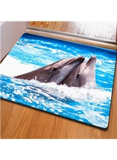 Two Lovely Cute Dolphins Playing in the Sea Print Home Decorative Non Slip Doormat