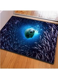 Realistic Rectangle Polar Bear and Fish in the Sea Print Non Slip Doormat