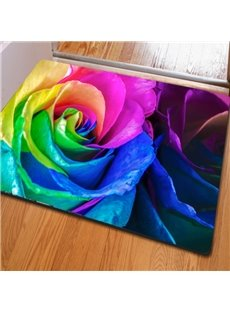Colorful Modern Style Flower Print Rectangle Home Decorative Doormat