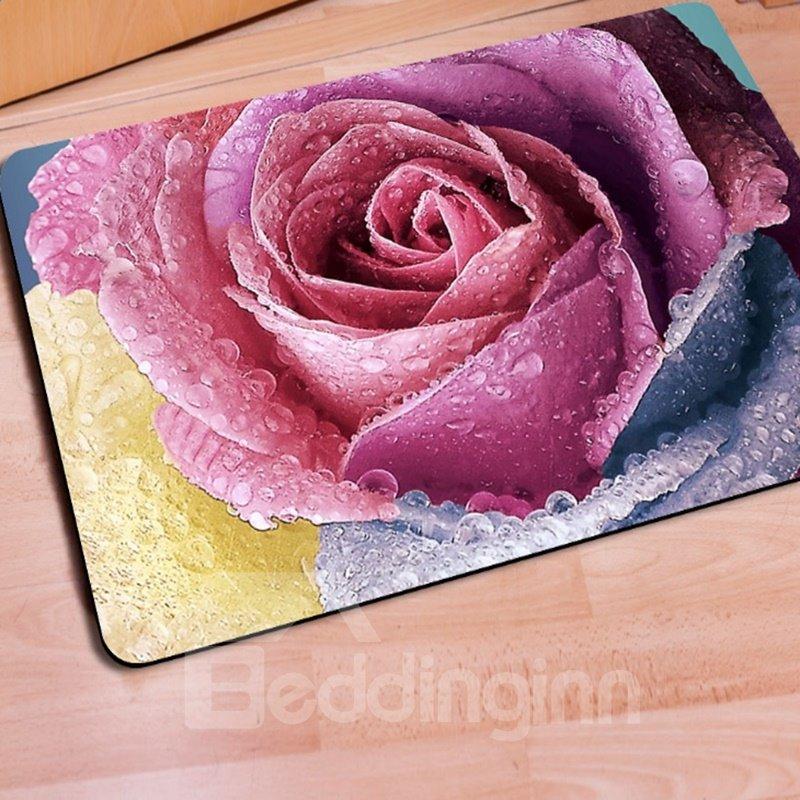 Gorgeous Rectangle Pink Roses Print Home Decorative Non Slip Doormat