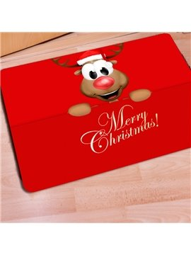 Red Rectangle Cartoon Christmas Deer Home Decoration Non Slip Doormat