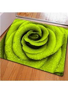 Fresh Rectangle Green Roses Print Christmas Decorative Non Slip Doormat
