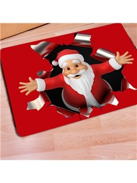 Red Rectangle Warm Santa Claus Print Christmas Decoration Doormat