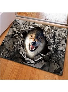 Fancy Rectangle Broken Stone and Wolf Pattern Non Slip Decorative Doormat