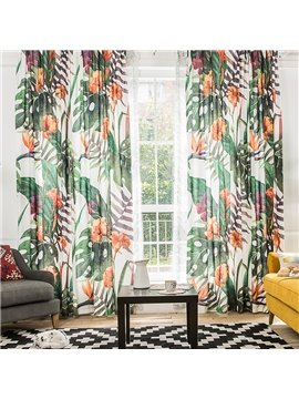 Colored Flower and Green Leaf Printing Window Decoration Custom Curtain