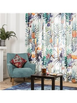 Colored Plant and Bird Printing Window Decoration Custom Curtain