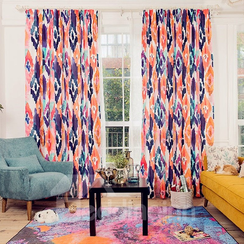 Colorful Geometric Printing Window Decoration Custom Curtain