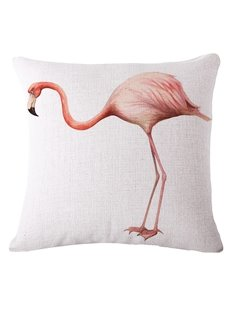 Unique Pink Flamingo 3D Printed White Throw Pillow