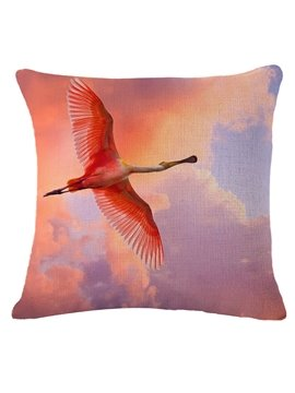 Dreamy Pink Flying Flamingo Print Throw Pillow