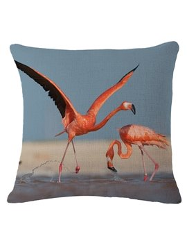 Two Pink Flamingos 3D Printed Throw Pillow