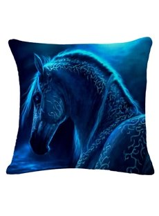 Aesthetic Blue Horse Print Square Throw Pillow