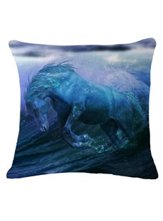 Strong and Vigorous Horse Running Through Water Print Throw Pillow