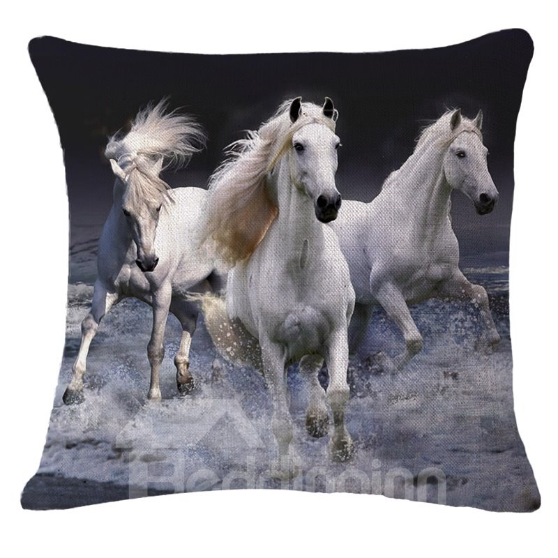 Photographic 3D Three White Horses Printed Throw Pillowcase