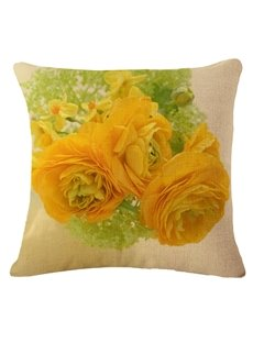 Stylish Yellow Roses Print Square Throw Pillow