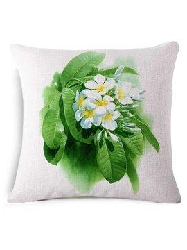 Elegant Plumeria Rubra Print Square Throw Pillow