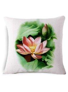 Divine Lotus Reactive Printing Square Throw Pillow