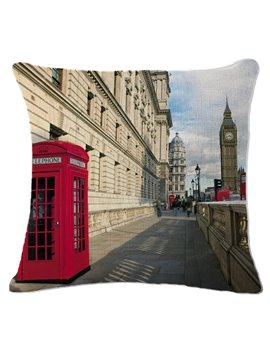 Red Telephone Box and Big Ben Print Square Throw Pillow