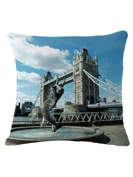 Dolphin and Girl Statue with Tower Bridge Print Square Throw Pillow