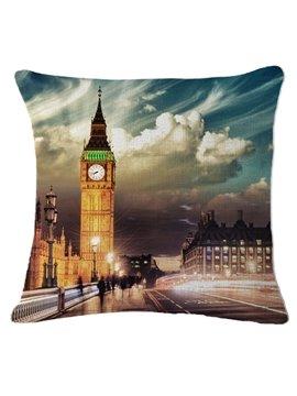 Big Ben at Night Print Square Throw Pillow
