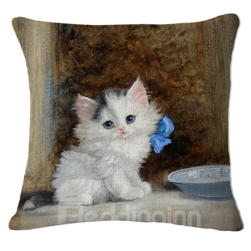 Lovely Exotic White Kitty Cat Print Square Throw Pillow