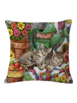 Super Cute Brother Kittens Asleep Print Throw Pillow