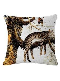 Cute kitten in a Tree Print Throw Pillow
