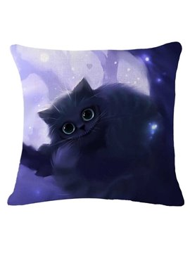 Adorable Halloween Black Kitty Printed Decorative Throw Pillow