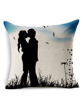Romantic Lover Silhouette Print Square Throw Pillow