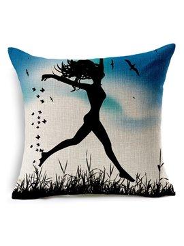 Stylish Dance Girl Print Square Throw Pillow