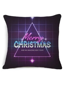 Chic Merry Christmas Triangle Print Purple Throw Pillow