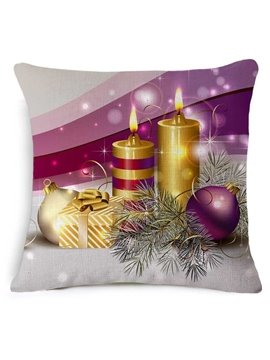 Ornate Christmas Candle and Decoration Print Purple Throw Pillow