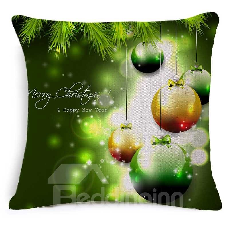 Shining Christmas Ornament Ball Print Green Throw Pillow