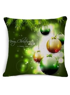 Shining Christmas Ornament Ball Print Green Throw Pillow