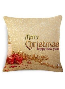 Typography Merry Christmas and Gift Print Golden Throw Pillow
