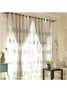 Blue Leaf Embroidered Sheer and Beige Cloth Sewing Together Window Decoration Custom Curtain