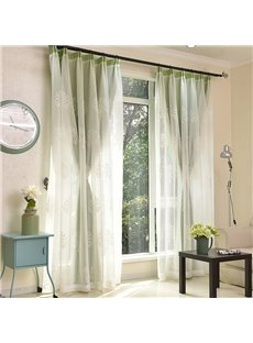White Leaf Embroidered Sheer and Green Cloth Sewing Together Window Decoration Custom Curtain