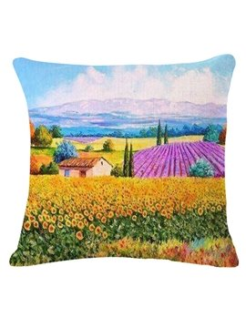 France Country Landscape Oil Painting Throw Pillow