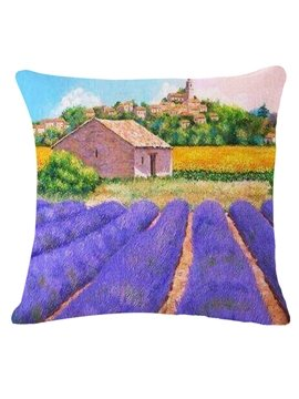 Dreamy Rows of Lavender Print Decorative Throw Pillow