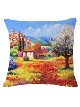 Impressionist Beautiful Landscape Print Square Throw Pillow