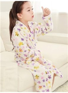 Lovely Colorful Stars Pattern Soft Flannel Kids Robe