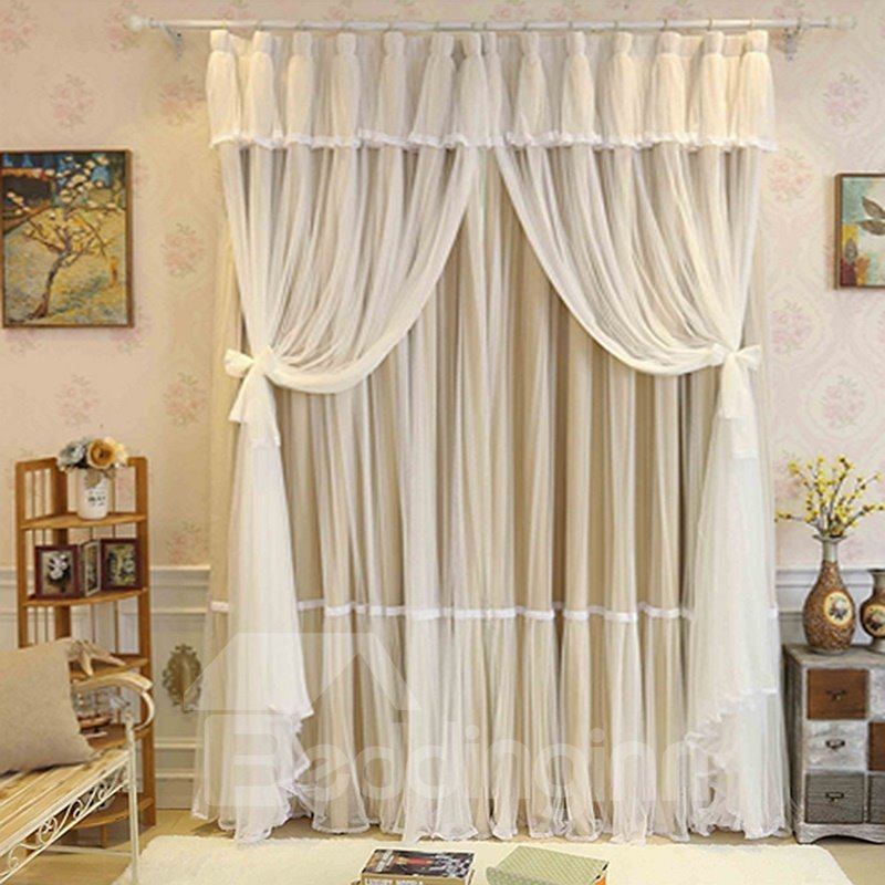 Blackout and Decoration Blending Princess Style Romantic Beige Double Pinch Room Curtain