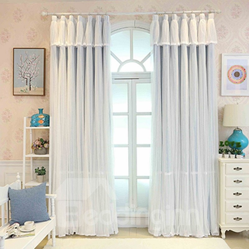 Princess Style Blue Sheer and Cloth Sewing Together Blackout Custom Curtain