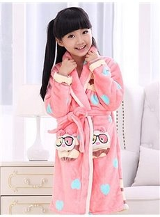 Cute Blue Sweet Hearts Pattern Pink Kids Robe