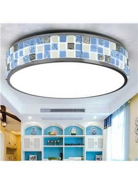 Round Shape Mediterranean Style Iron and Crystal Seashell Decoration Dimming Control Flush Mount