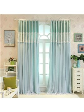 Green Sheer and Cloth Sewing Together Blackout Custom Curtain with Lace
