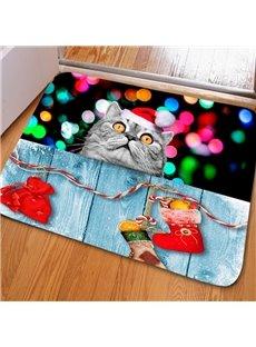 Amusing Rectangle Cat Pattern Christmas Decoration Non Slip Doormat
