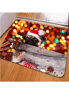 Special Design Rectangle Dog and Pinecone Print Christmas Decoration Non Slip Doormat