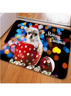 Sparkling Rectangle Cute Dog in a Red Cup Print Christmas Decorative Non Slip Doormat