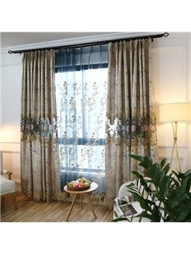 Luxury Embroidery Flower Hollow Custom Curtain