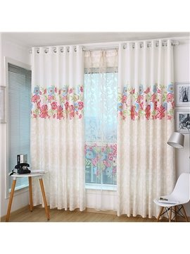 Elegant Red Floral on the Top Printing Custom Curtain